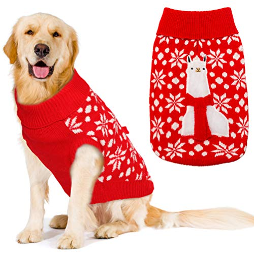 OFPUPPY Christmas Applique Alpaca Dog Sweater - Festive Ugly Sweaters Apparel Dogs Winter Coat Large Thanksgiving Cold Weather Dog Clothes
