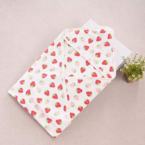 Neutral Swaddle Blanket Baby Sleeping Bag 0-18 Months, Quilt, Printed Newborn Towel, Cotton, Summer@Big Strawberry_90*90 Child Comfort Quilt