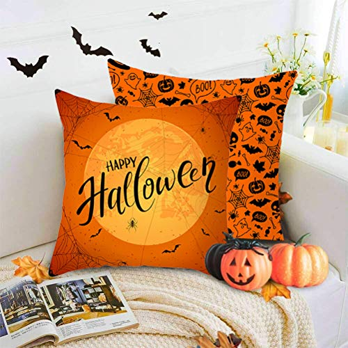nuoshen 2 Pieces Halloween Pillow Case, Orange Pillow Cover, Happy Halloween Linen Sofa Bed Throw Cushion Cover Decoration (18' x 18')