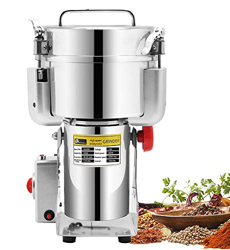 CGOLDENWALL 2000g Commercial Electric Stainless Steel Grain Grinder Mill Spice Herb Cereal Mill...