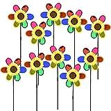 ZoneYan Molino de Viento, 10 Pcs Molino de Viento de Girasol, Molino de Viento Jardin, Forma de Flor de Molino de Viento, Molinillo de Viento Multicolor para Jardín, Terraza y Niños