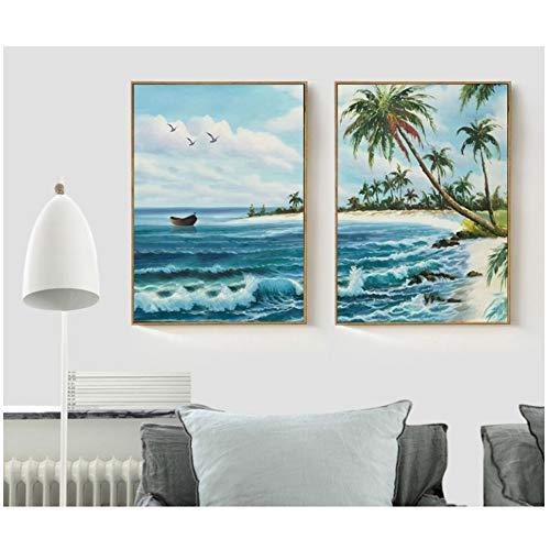 Wandkunst Leinwandbilder Nordic Scenery Sea Waves Print Bild Dekoration für Wohnzimmer 50x70cm Gerahmtes Blau