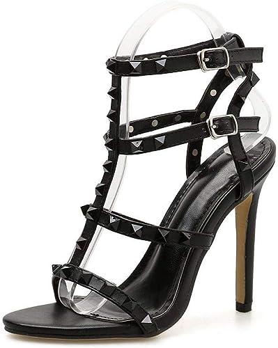 EGS-chaussures Fish Mouth Rivets Stilettos Sexy Sandales à Talons Hauts pour Femmes Chaussures de Cricket (Couleur   Noir, Taille   37)