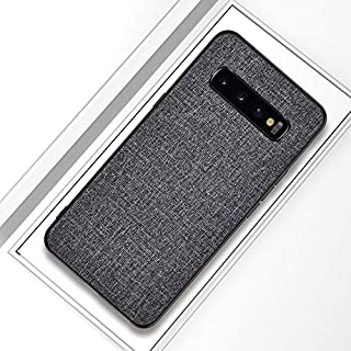 QFH Shockproof Cloth Texture PC+ TPU Protective Case for Galaxy S10+ (Black) new style phone case (Color : Grey)
