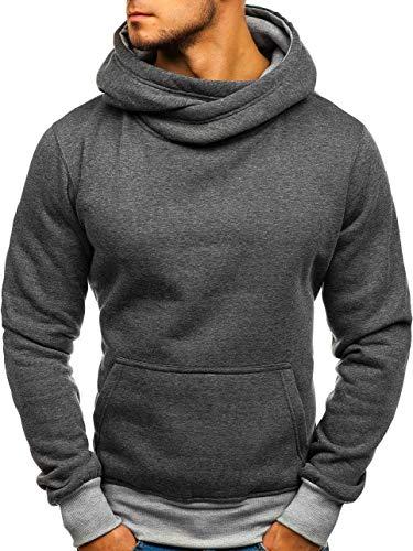 BOLF Herren Kapuzenpullover Sweatshirt Langarmshirt Pulli Hoodie J.Style 2078 Dunkelgrau-Grau XXL [1A1]
