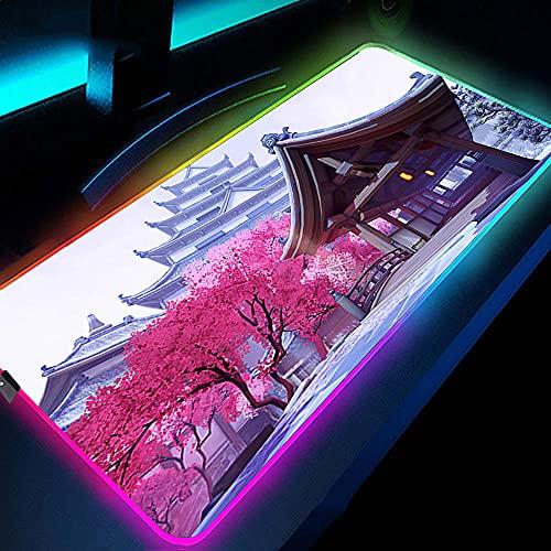 Alfombrilla de ratón para Juegos RGB, Alfombrilla de ratón para Jugadores con iluminación LED Grande de 14 Luces, portátil Iluminado, Arquitectura de la Ciudad Antigua, 700X300X3Mm