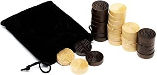 DA VINCI Solid Wood Backgammon and Checkers Pieces 30 Replacement Ridged Game Chips with Cloth Storage Bag