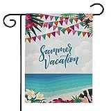 Deloky Outdoor Garten Flagge - 30,5 x 45,7 cm doppelseitige Hausflagge, Gartenbanner für Jahrestag, Zuhause, Außendekoration 12'×18' Summer Vacation Flag