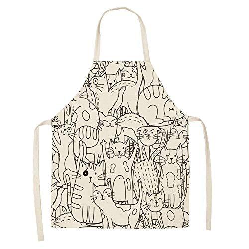 LIUKLAI Delantal de cocina de gato de dibujos animados lindo para mujer, babero de lino y algodón, delantal de limpieza para el hogar, delantal de cocina para el hogar, 68x55cm-2WQ-WQ0026-3_47x38cm