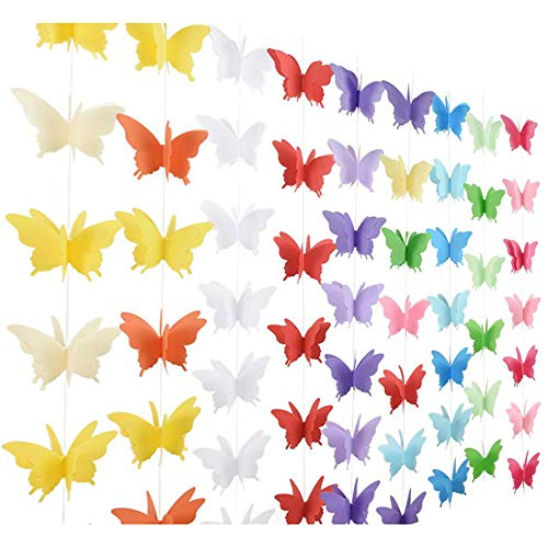 4Packs 3D Butterfly Banner Decorative Paper Hanging Garland for Party, Baby Shower, Wedding,Theme Decor (Pink+Yellow+Blue+Purple)