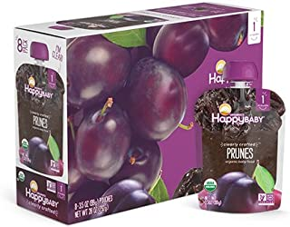 Happy Baby Organic Clearly Crafted Stage 1 Baby Food 1 Prunes, Resealable Baby Food Pouches, Fruit & Veggie Puree, Organic Non-GMO Gluten Free Kosher, 3.5 Ounce Pouch, Pack of 16