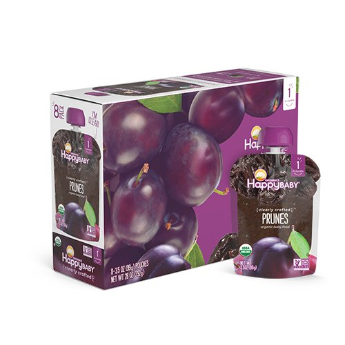Happy Baby Organic Clearly Crafted Stage 1 Baby Food 1 Prunes, Resealable Baby Food Pouches,...