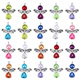 PRETYZOOM 20pcs Angel Wing Charm Colorful Angel Pendant Pearl Beads Jewelry Making DIY Crafting Accessories for Necklace Bracelet Earring(Mixed)