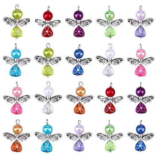 Amosfun 20 piezas de alas de ángel multicolor colgantes perlas joyas DIY accesorios para collar pulsera pendientes (mezclados)
