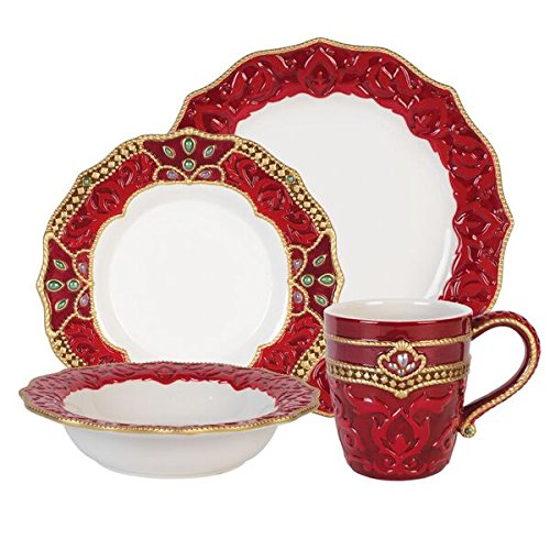 Fitz and Floyd 80-272 Renaissance Holiday 4 Piece Place Dinnerware Set Red/White