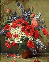 大人と子供によるデジタルペインティングキット赤い花瓶油絵週末カジュアルゲームプレプリントキャンバスアート描画家の装飾