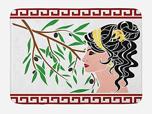 Rasta Badmat, Ethiopische Vlag Kleuren op Grunge Sketchy Leeuw Hoofd Zwarte Achtergrond, Pluche Badkamer Decor Mat met…