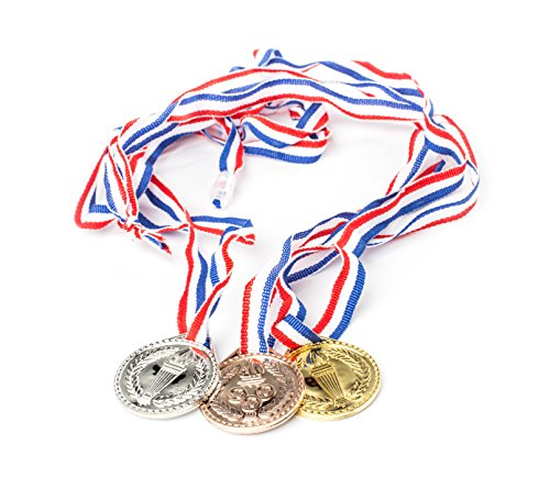 Neliblu Torch Award Medals (2 Dozen) - Bulk - Gold, Silver, Bronze Medals - Olympic Style Award Medals - First Second Third Winner - Great for Party Favor Decorations and Awards