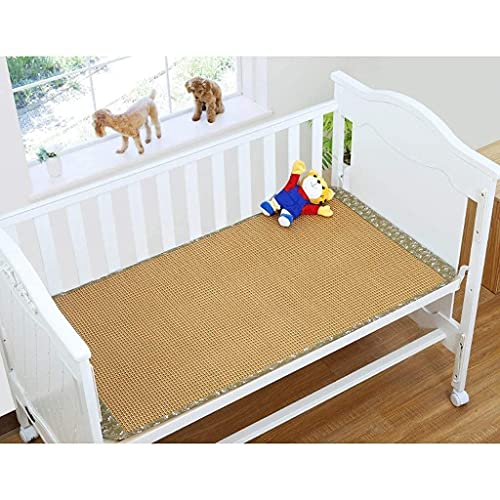 Bamboo Bed Mat Summer Sleeping Mat Bamboo Baby Newborn Children's Nursery Bed Rattan Seats, No Odor Smooth No Burr Cool Without Ice (Color : One-Piece, Size : 88×168cm)