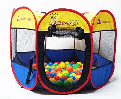 bällebad24 Tier Pool Ø 80cm Katzenpool Hundepool + 100 Bälle bunt ( Tüv geprüft und Zertifiziert 2019 ) Bällchenbad, Bällebad Bälle, Baby Bälle, ohne gefährliche Weichmacher