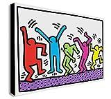 Keith Haring - Ballerini - Pop Art Stampa Su Tela Con Cornice Varie Dimensioni (A1 80x60 cm)