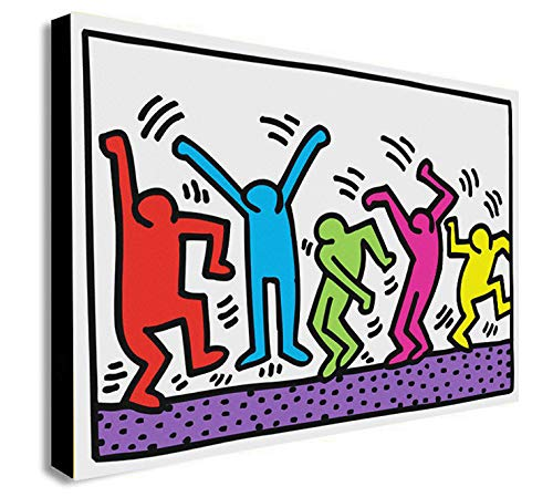 Keith Haring – Dancers – Pop Art Leinwandbild, gerahmt, verschiedene Größen, A1 32x24 inches