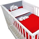 Callyna - Juego de ropa de cama para bebé (180 cm y fundas), conjunto de cuna de algodón puro 100 % de la Unión Europea, bordado con ositos rojo y blanco