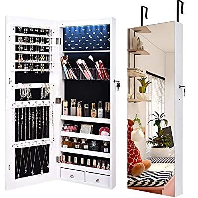 "LVSOMT 8 LED Jewelry Organizer Cabinet with Full-Length Body Mirror, Wall/Door Mounted Jewelry Armoire, Lockable Storage Cabinet with 2 Drawers & 4 Shelves, Large Capacity 14.5""W x 42.5""H (White)"