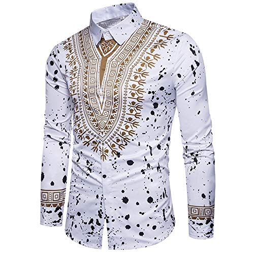 WUSIKY Tshirt Herren Afrika Dashiki Hemd Herren Langarmshirt Slim Fit T Shirt Casual Print Pullover Obere Bluse Oversize Oberteile Tshirts Männer Hemden (Weiß, L)