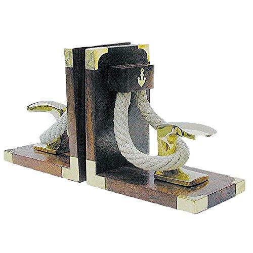 Buchstützen Poller&Tau Holz/ Messing, 1 Paar, 31x16x9,5cm