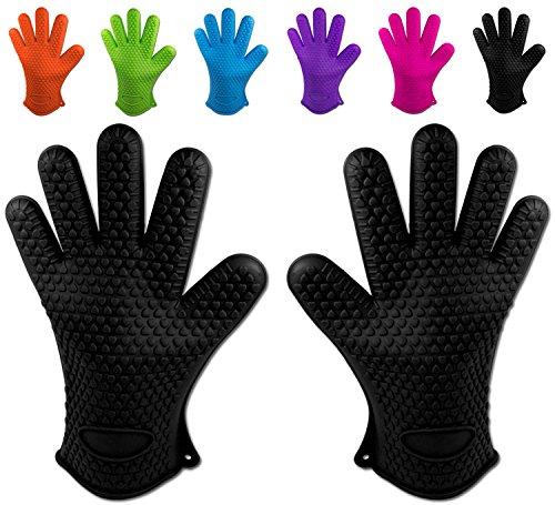 Belmalia Handschuhe, 2X Silikon Backhandschuhe, Schwarz, Größe,