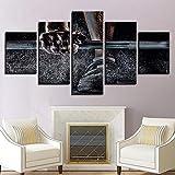 SMXSSJT 5 Panels Wandbilder Kunstdruck Gewichtheben Canvas Hd Print Pictures Living Room Painting 5...