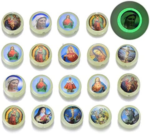 50pcs Luminous Bead Glow in The Dark Resin Jesus Cross Saint Mary with Miraculous Medal Rosary product image