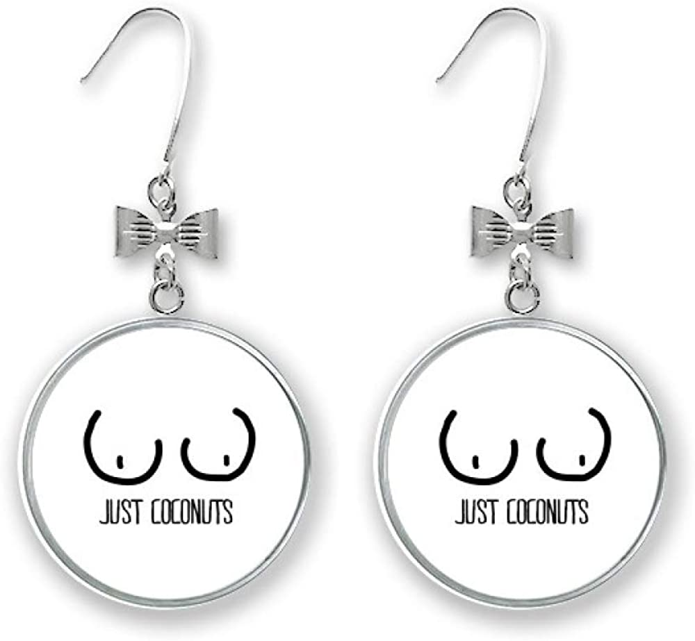 Just Coconuts Funny Drawing Bow Stud Large special price Max 65% OFF Drop Earrings Pierced Hook