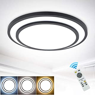 Depuley - Plafón LED regulable, 48 W, con mando a distancia, diseño sencillo, lámpara de techo para dormitorio, cocina, pasillo, comedor, 3000 K-6500 K, color blanco y negro