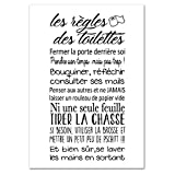 Adzif.biz Le sticker de decoration Poster Les Règles des Toilettes - Dimensions 30 x 40 cm - Papier Brillant
