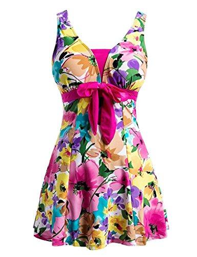 Ecupper Damen Badekleid Blumen Muster Gepolstert Badeanzug mit Shorts Bademode Große Größen Rosa 5XL
