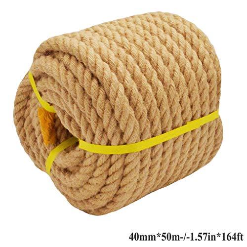 HQYMP 100% natuurlijke jute touw hennep touw 50m 40mm sterke jute touw voor doe-het-zelf ambachten tuinieren hangmat huis decoreren