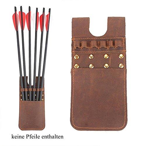 TentHome Vintage Kunstleder Bogenschießen Köcher Tragbarer Seitenköcher Hüfte Taille Pfeile Halter für 6 oder 12 Pfeile (Braun 6)