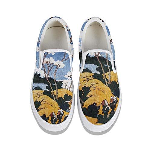 Famous Japanese Paintings Japan Ukiyoe College Student Canvas Sneakers Flat Bottom Non-Slip Beautiful Footwear