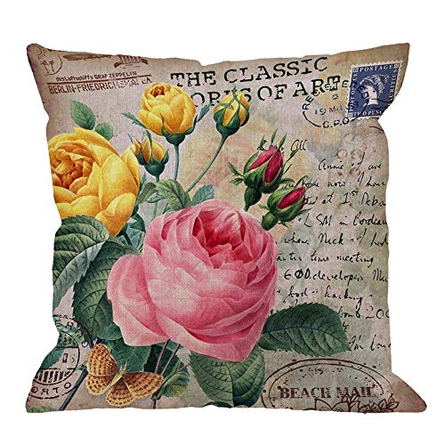 Houlipeng Throw Pillow Cover Roses Flower with Vintage Butterfly Stamp Letter Pink Yellow Red Green Home Decorative Pillow Cases Cotton Linen Square Cushion Covers for Sofa Couch 45x45cm