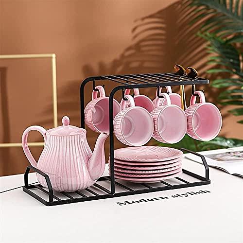 Juego de té para el hogar de cerámica de lujo con estante de almacenamiento utilizado para regalos/boda/hogar/oficina-H