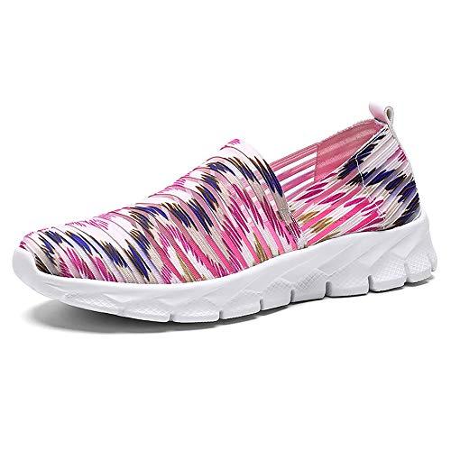 Zapatos para Corror Mujer Zapatillas de Deportiva Slip on Huecos Sneakers para Caminar Walking Calzado Malla Transpirables Loafer Ligeros Mocasines Verano Rojo-1 41 EU