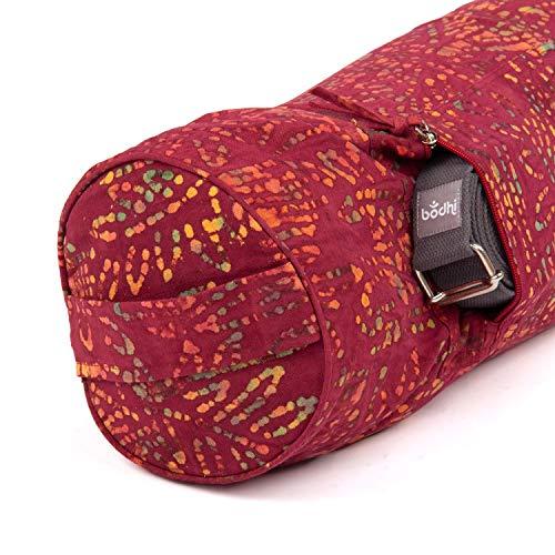 Yogamattentasche Bhakti Bag, weinrot, Batik-Muster Design, 100% Baumwolle, für Yogamatten und Schurwollmatten bis 66 cm Breite