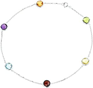Fine Jewelry Fine Anklets 14k White Gold Gemstone Anklet With A Smoky Topaz Pear Shape Drop 10 Inches