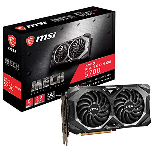 MSI R5700MHC Gaming Radeon Rx 5700 Boost Clock: 1750 MHz 256-bit 8GB GDDR6 DP/HDMI Dual Fans Crossfire Freesync Navi Architecture Graphics Card (RX 5700 Mech OC)
