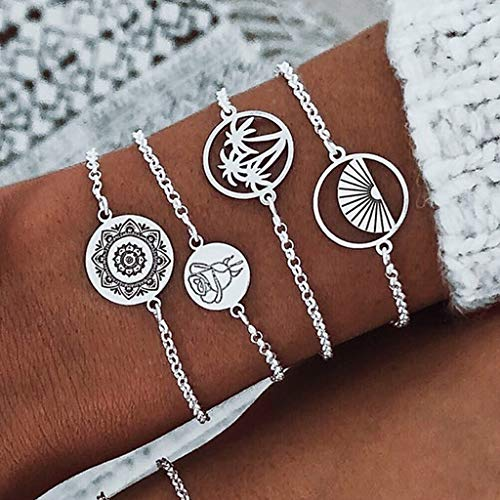 HINK Womens Bracelets , 4pcs Bohemia Silver Wave Anklets Bracelets For Women Rope Beach Anklet Jewelry , Jewelry & Watches for Christmas