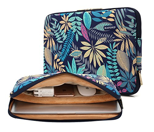KAYOND Canvas Water-Resistant for 13-13.3 Inch Laptop Sleeve Case Bag (13-13.3 Inches, Forest Series Bule)