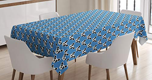 Ambesonne Bulldog Tablecloth, Abstract and Hipster French Bulldog Heads Funny Puppy Pattern Design, Rectangular Table Cover for Dining Room Kitchen Decor, 60' X 84', Blue Black