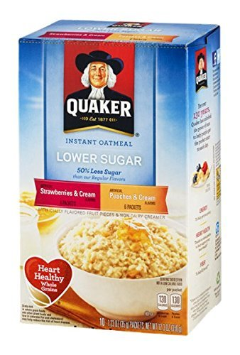 Quaker Instant Oatmeal Strawberries & Cream / Peaches & Cream 10.5 oz (1 Box)